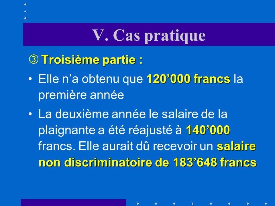 V. Cas pratique Elle n'a obtenu que 120'000 francs la première année