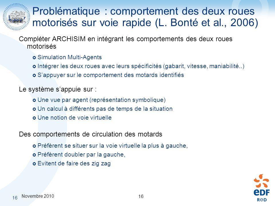 Problématique : comportement des deux roues motorisés sur voie rapide (L. Bonté et al., 2006)