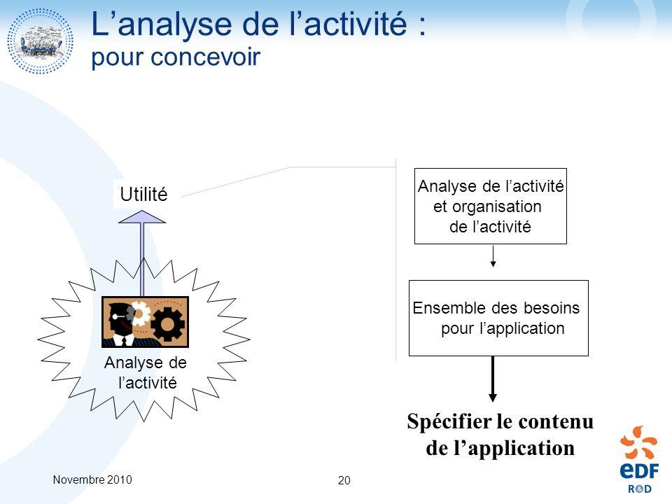 L'analyse de l'activité : pour concevoir