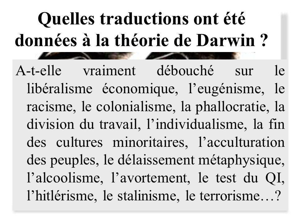 Quelles traductions ont été données à la théorie de Darwin