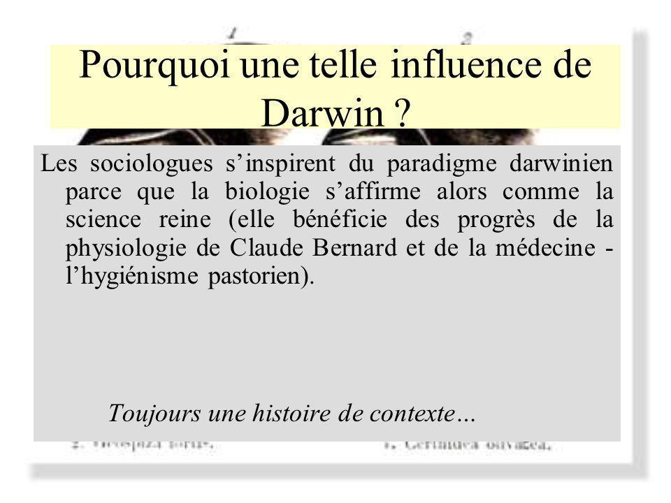 Pourquoi une telle influence de Darwin