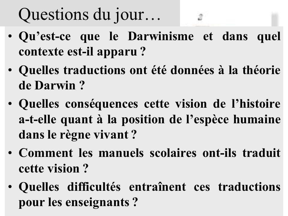 Questions du jour… Qu'est-ce que le Darwinisme et dans quel contexte est-il apparu Quelles traductions ont été données à la théorie de Darwin
