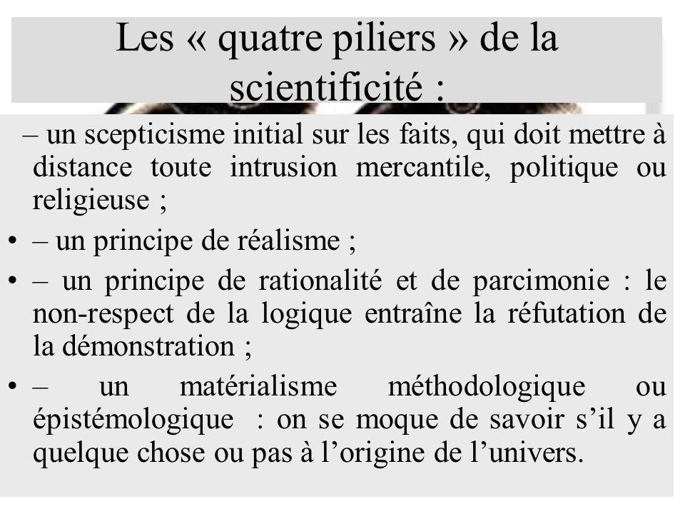 Les « quatre piliers » de la scientificité :