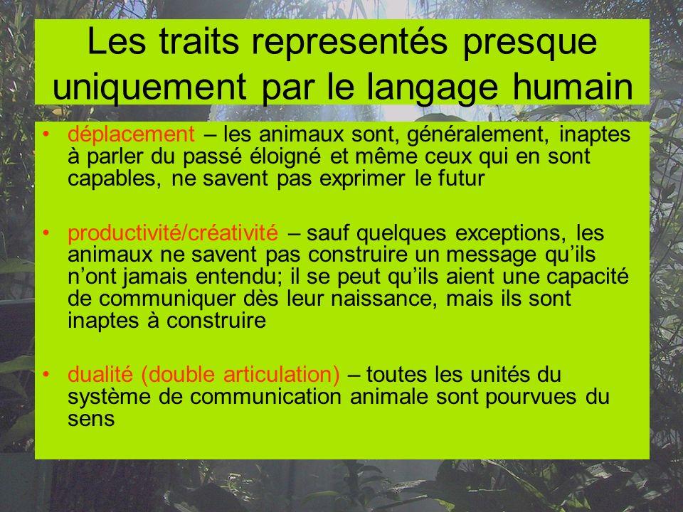 Les traits representés presque uniquement par le langage humain