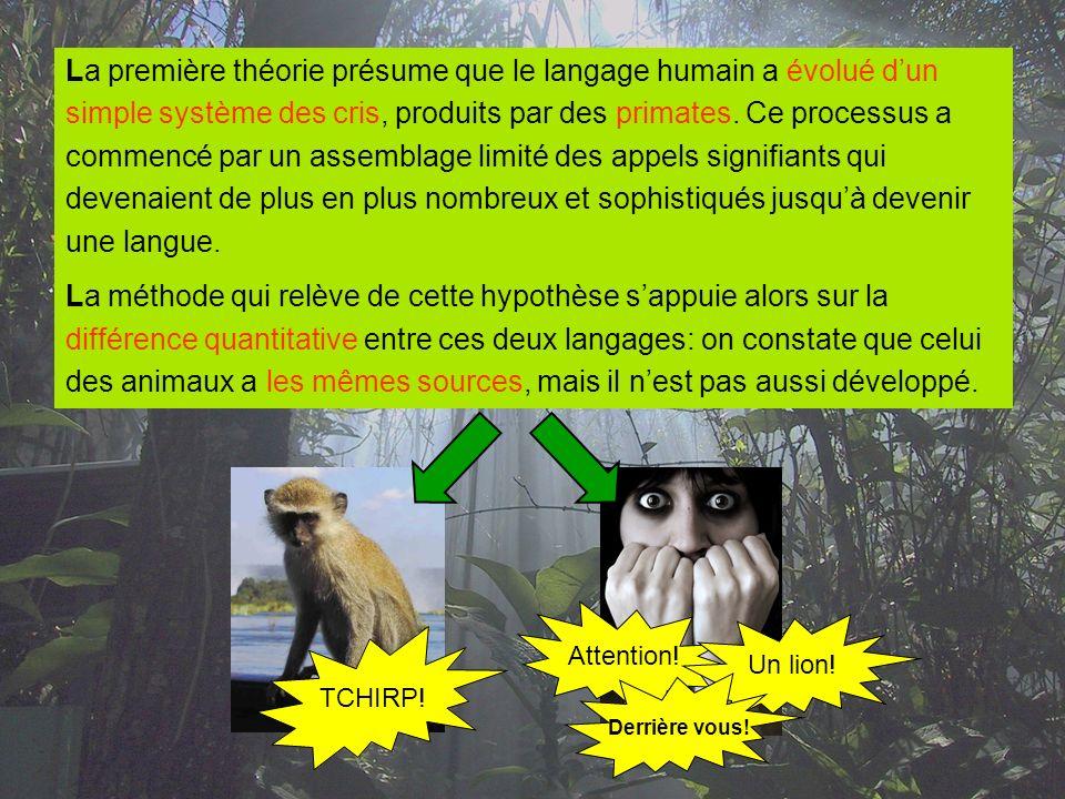 La première théorie présume que le langage humain a évolué d'un
