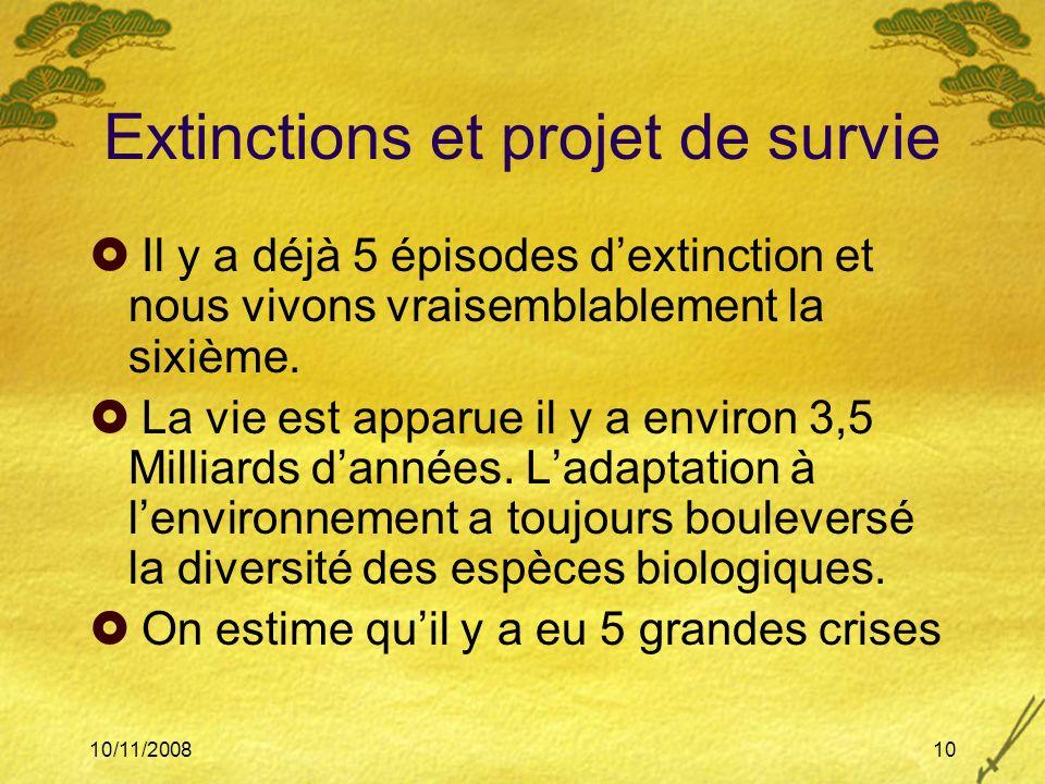 Extinctions et projet de survie