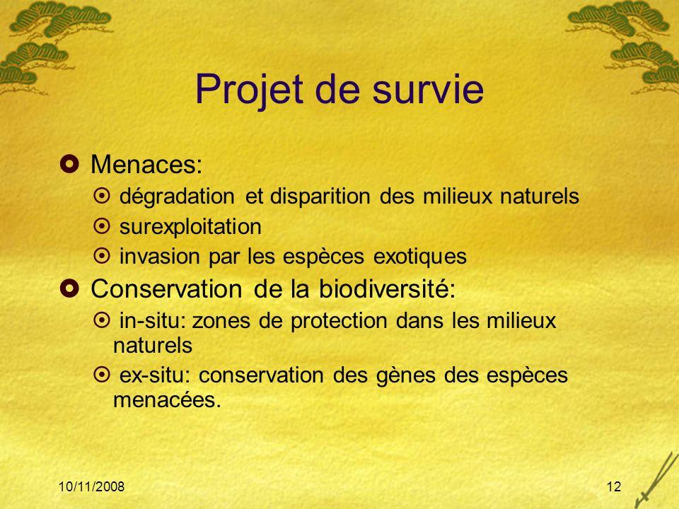 Projet de survie Menaces: Conservation de la biodiversité: