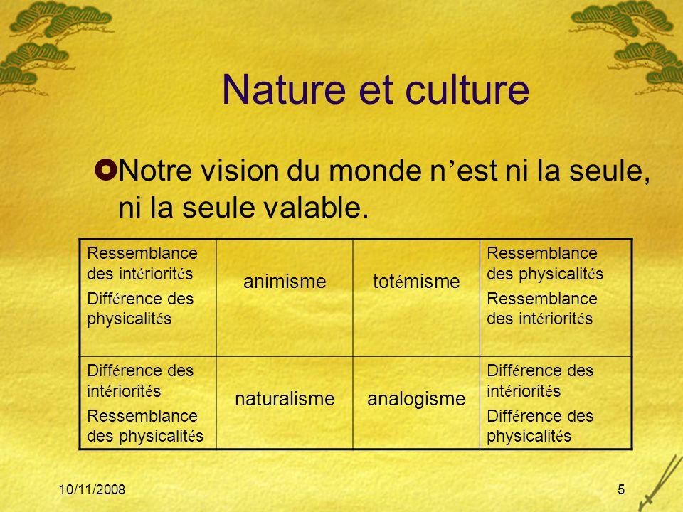 Nature et culture Notre vision du monde n'est ni la seule, ni la seule valable. Ressemblance des intériorités.
