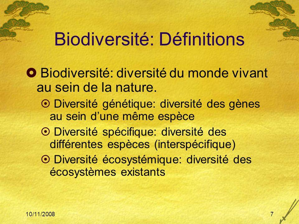 Biodiversité: Définitions