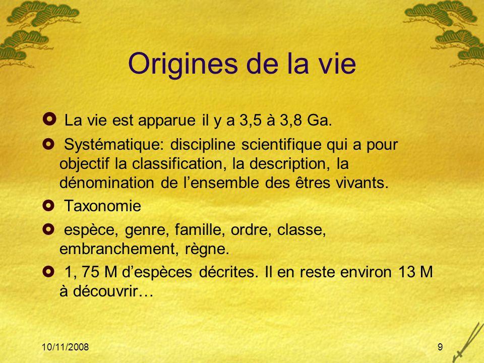 Origines de la vie La vie est apparue il y a 3,5 à 3,8 Ga.