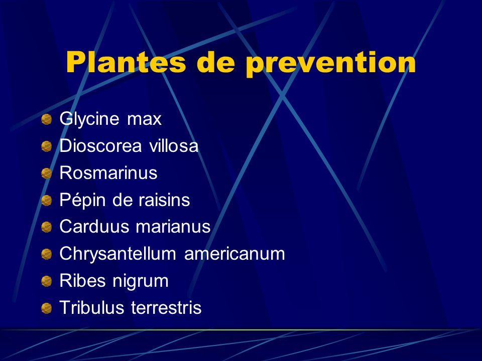 Plantes de prevention Glycine max Dioscorea villosa Rosmarinus