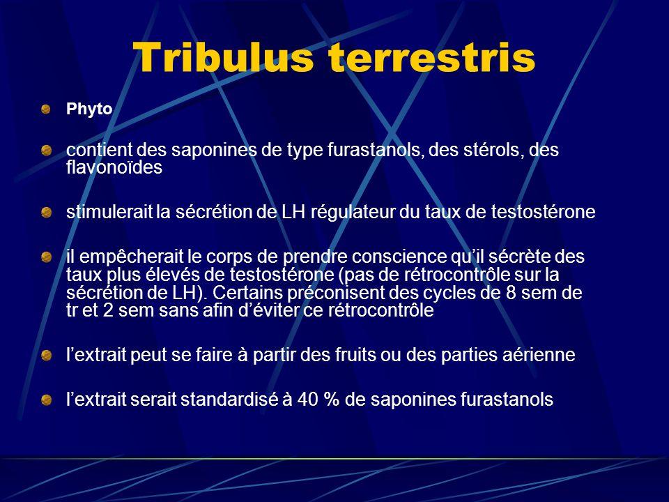Tribulus terrestris Phyto. contient des saponines de type furastanols, des stérols, des flavonoïdes.