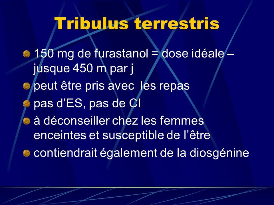 Tribulus terrestris 150 mg de furastanol = dose idéale – jusque 450 m par j. peut être pris avec les repas.