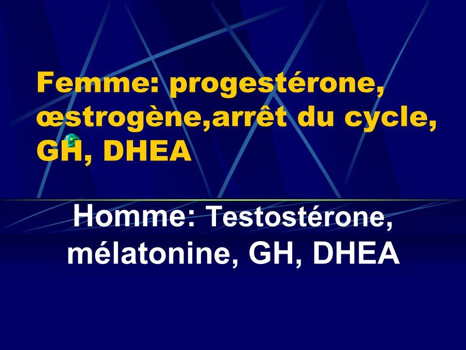 Femme: progestérone, œstrogène,arrêt du cycle, GH, DHEA