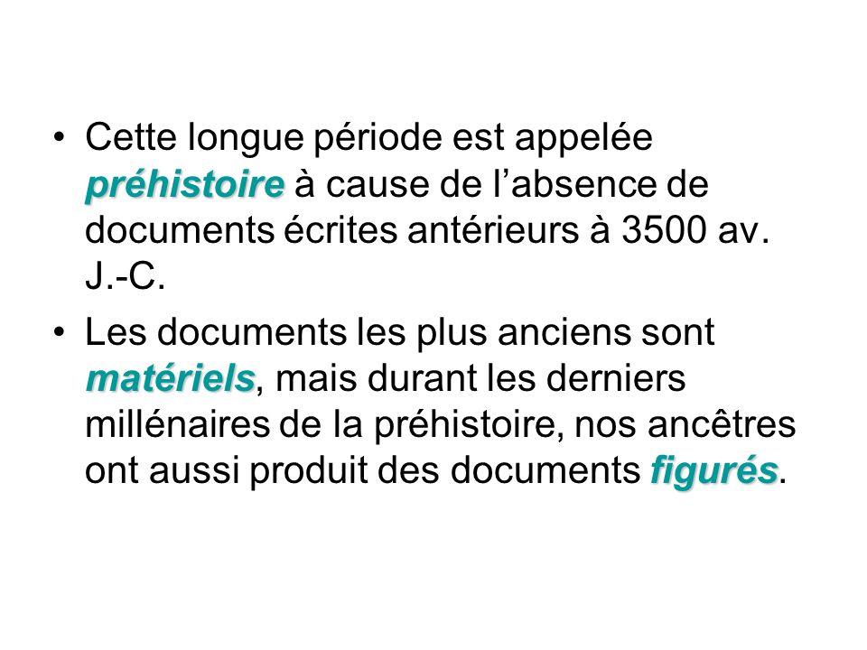 Cette longue période est appelée préhistoire à cause de l'absence de documents écrites antérieurs à 3500 av. J.-C.