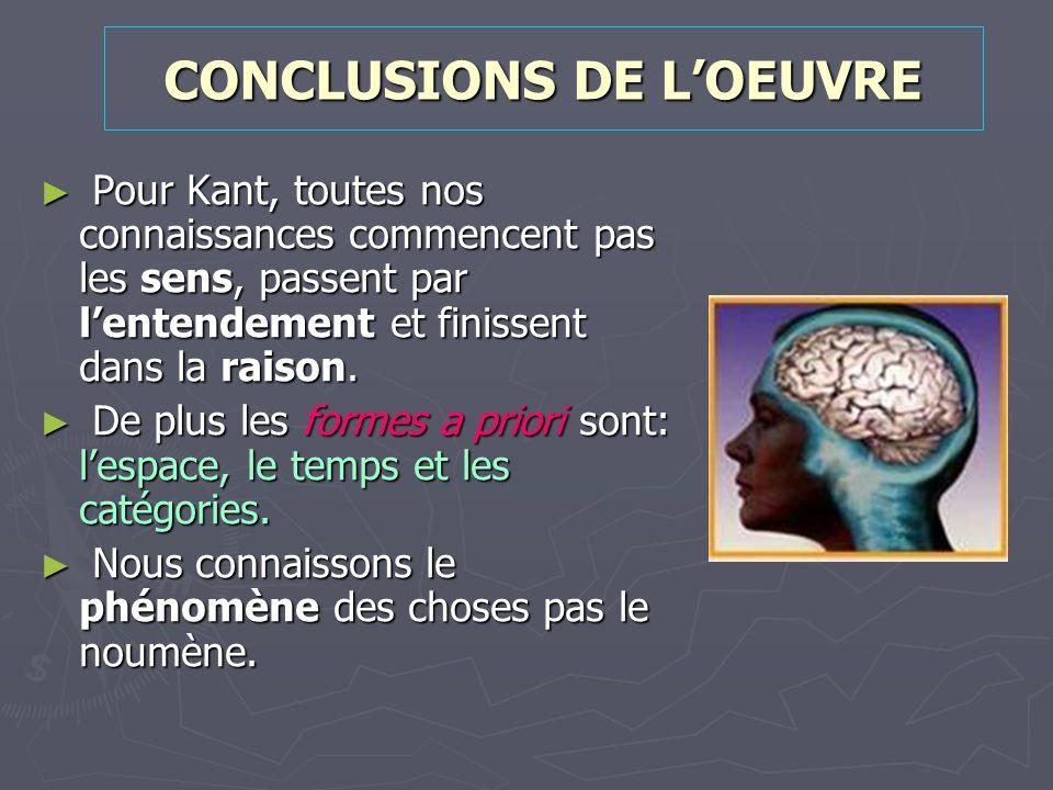 CONCLUSIONS DE L'OEUVRE