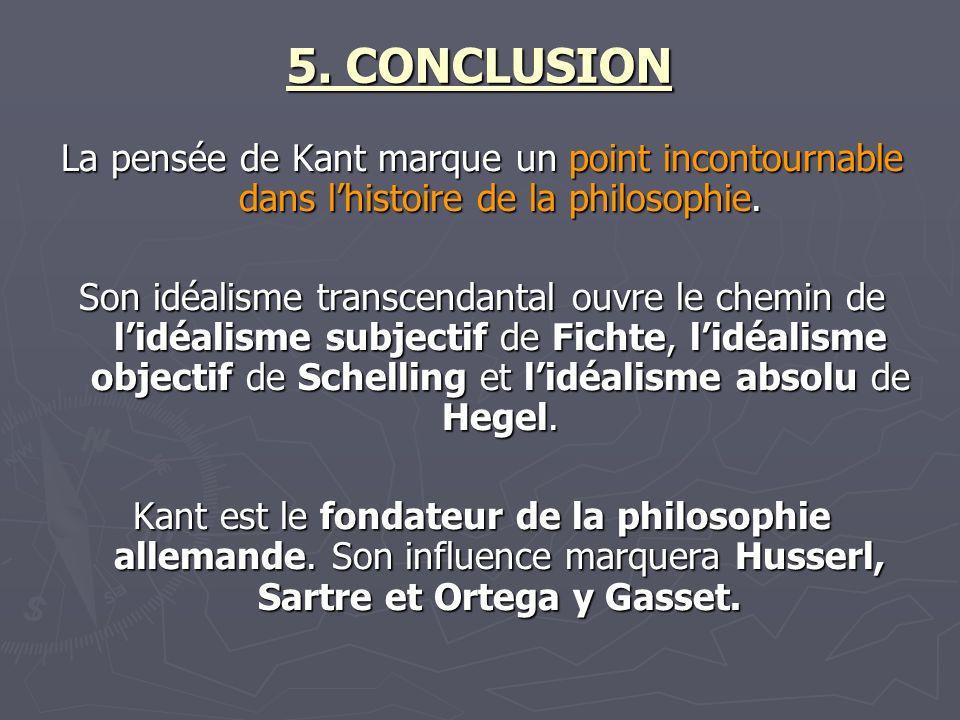 5. CONCLUSION La pensée de Kant marque un point incontournable dans l'histoire de la philosophie.