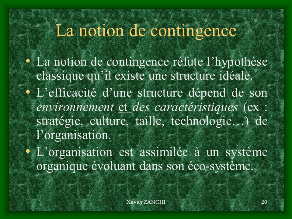 La notion de contingence