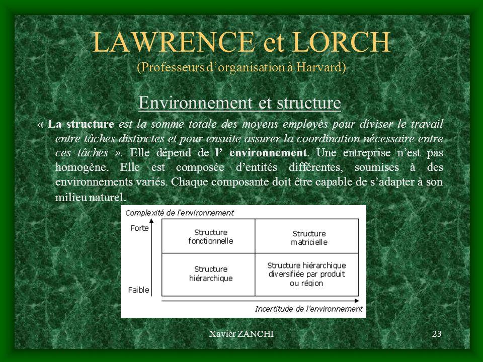 LAWRENCE et LORCH (Professeurs d'organisation à Harvard)