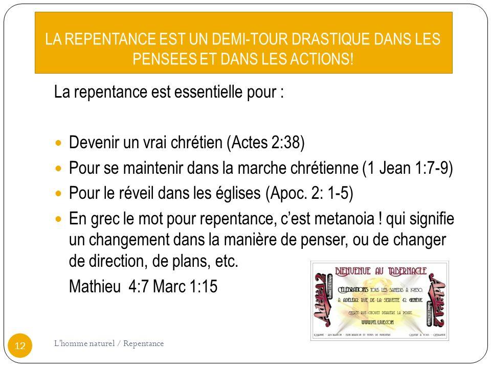 La repentance est essentielle pour :