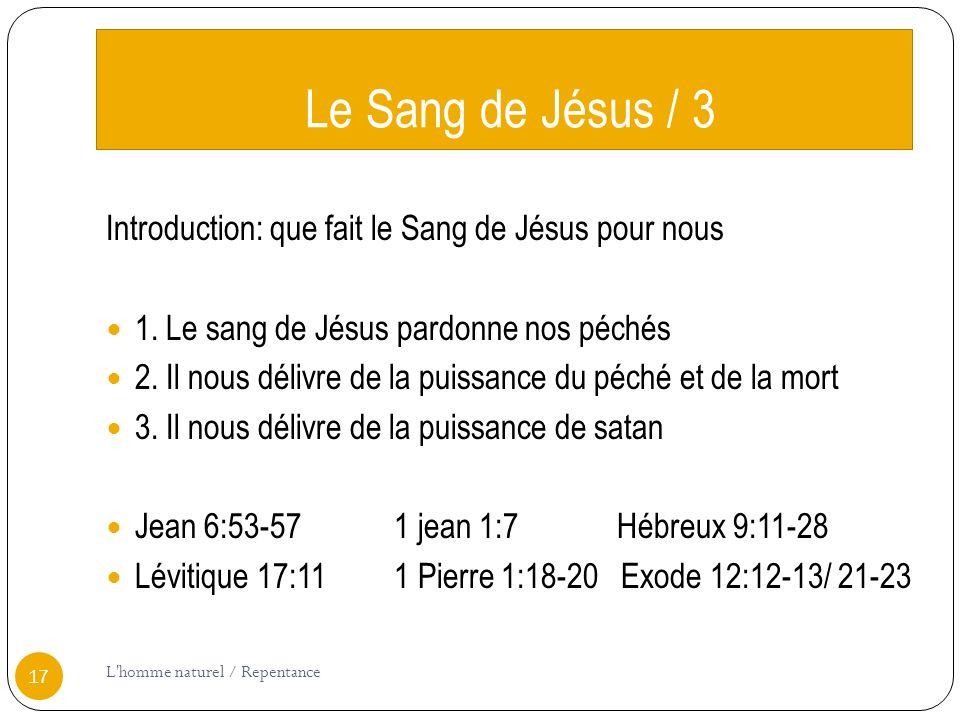 Le Sang de Jésus / 3 Introduction: que fait le Sang de Jésus pour nous