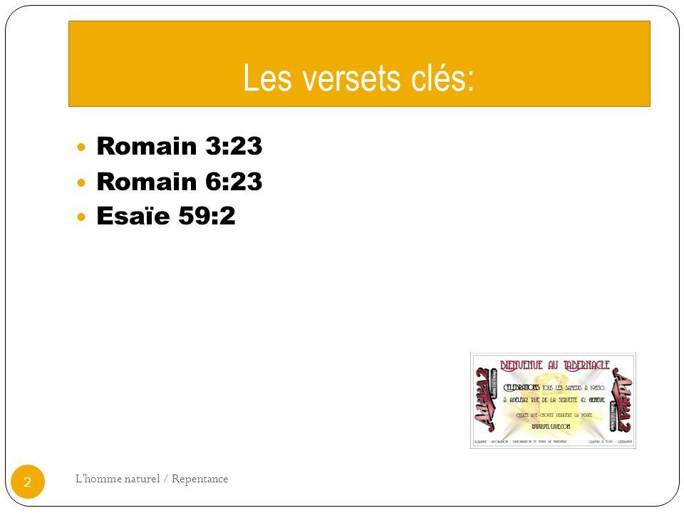 Les versets clés: Romain 3:23 Romain 6:23 Esaïe 59:2