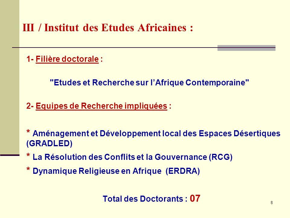 III / Institut des Etudes Africaines :