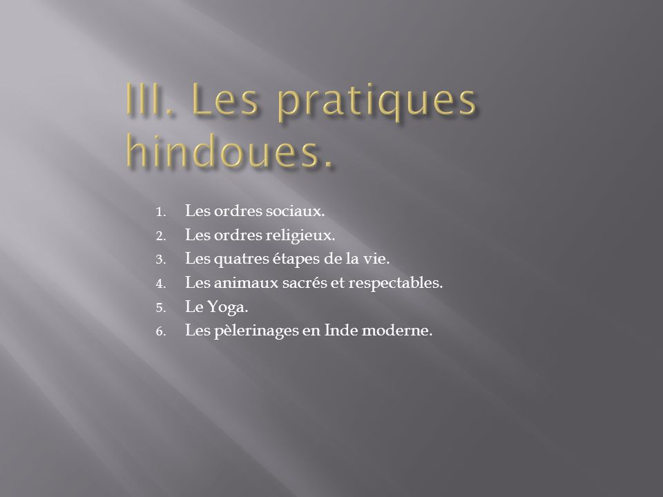 III. Les pratiques hindoues.