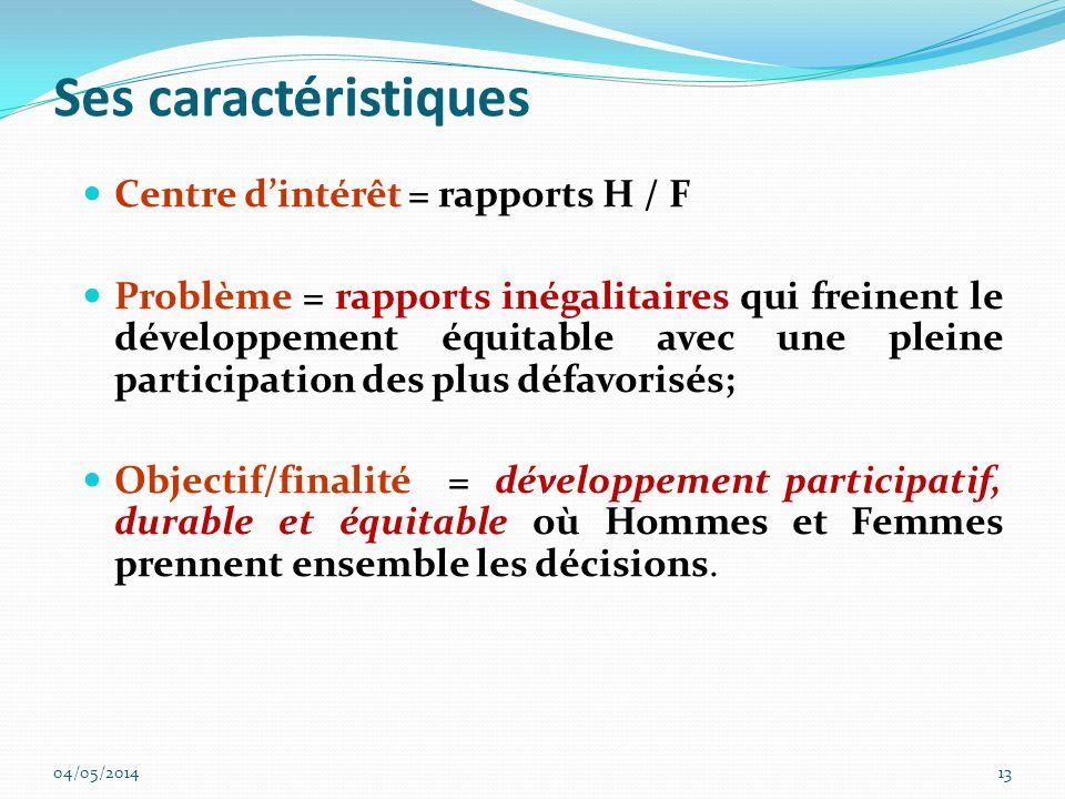 Ses caractéristiques Centre d'intérêt = rapports H / F
