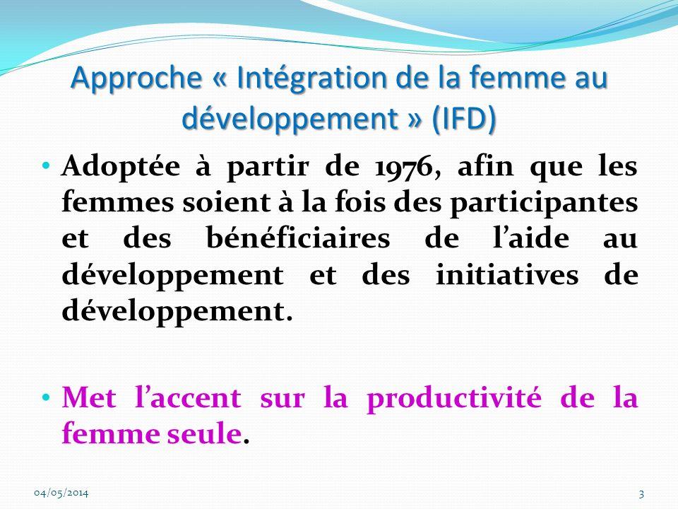 Approche « Intégration de la femme au développement » (IFD)