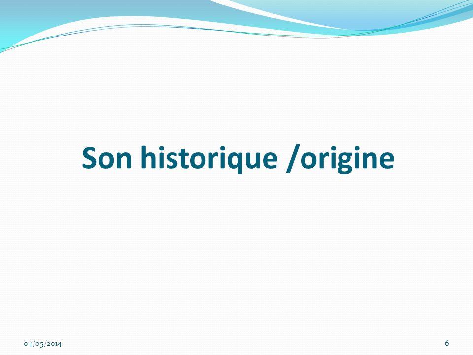 Son historique /origine