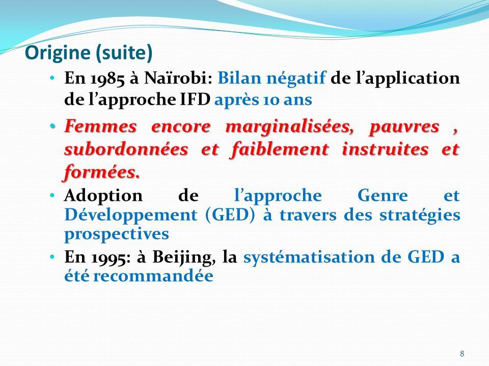Origine (suite) En 1985 à Naïrobi: Bilan négatif de l'application de l'approche IFD après 10 ans.