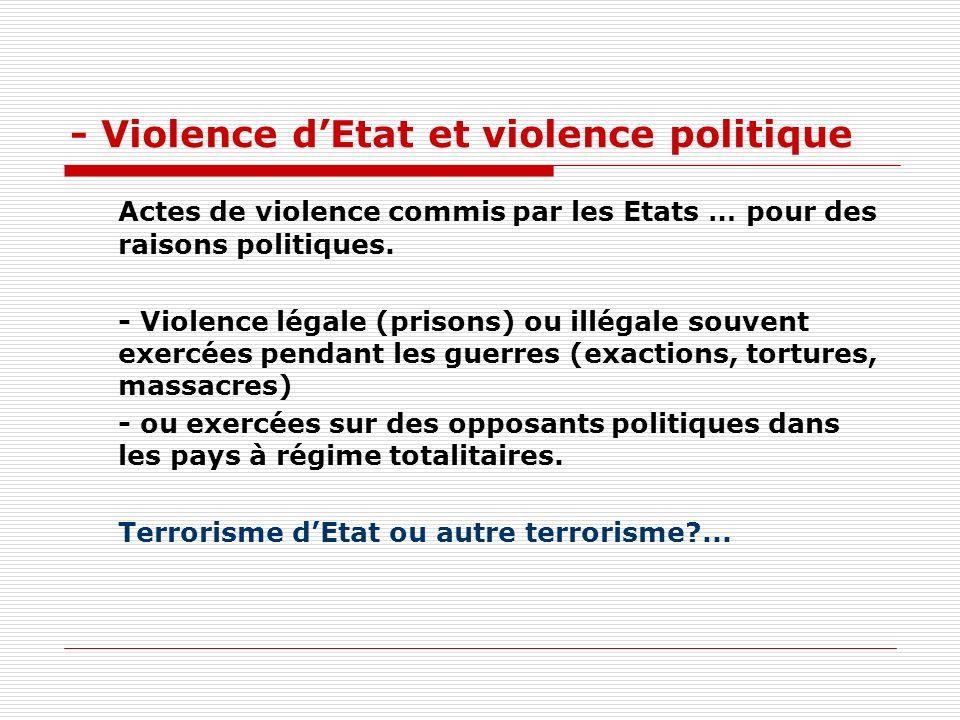 - Violence d'Etat et violence politique
