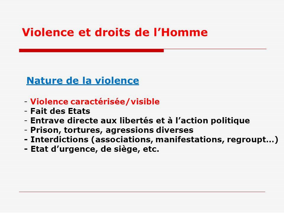 Violence et droits de l'Homme