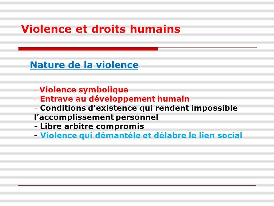 Violence et droits humains