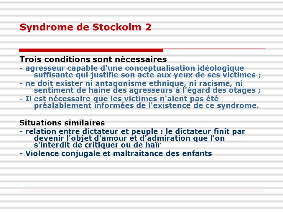 Syndrome de Stockolm 2 Trois conditions sont nécessaires