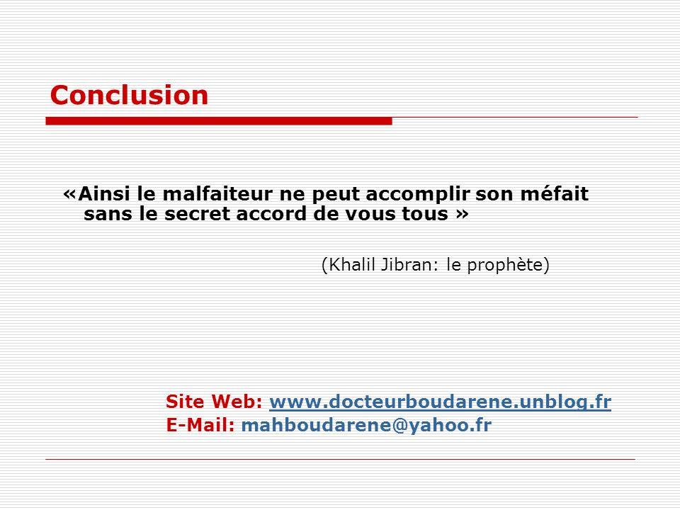 Conclusion «Ainsi le malfaiteur ne peut accomplir son méfait sans le secret accord de vous tous »