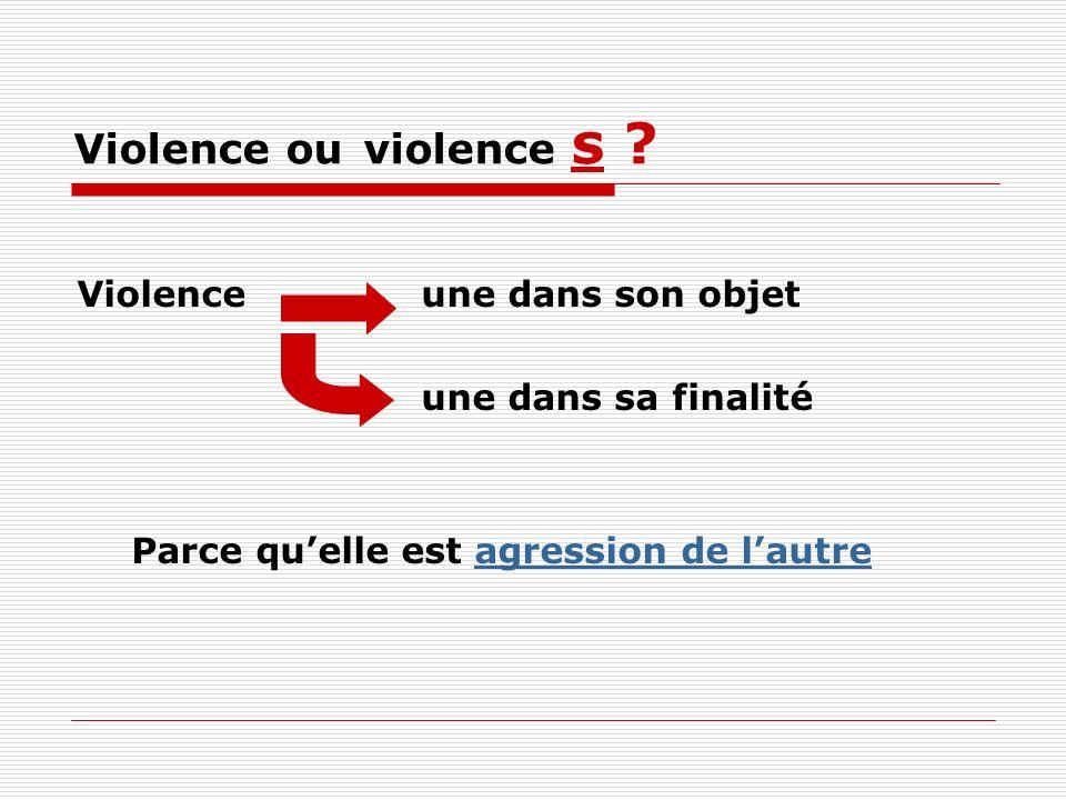 Violence ou violence s Violence une dans son objet
