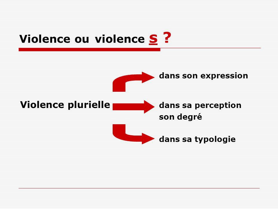 Violence ou violence s Violence plurielle dans sa perception