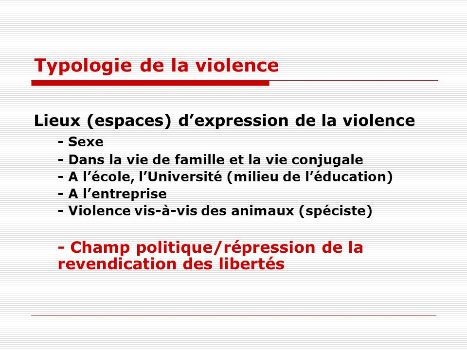 Typologie de la violence