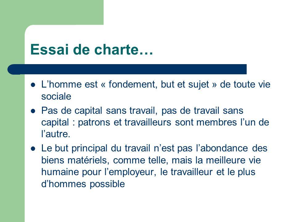 Essai de charte… L'homme est « fondement, but et sujet » de toute vie sociale.