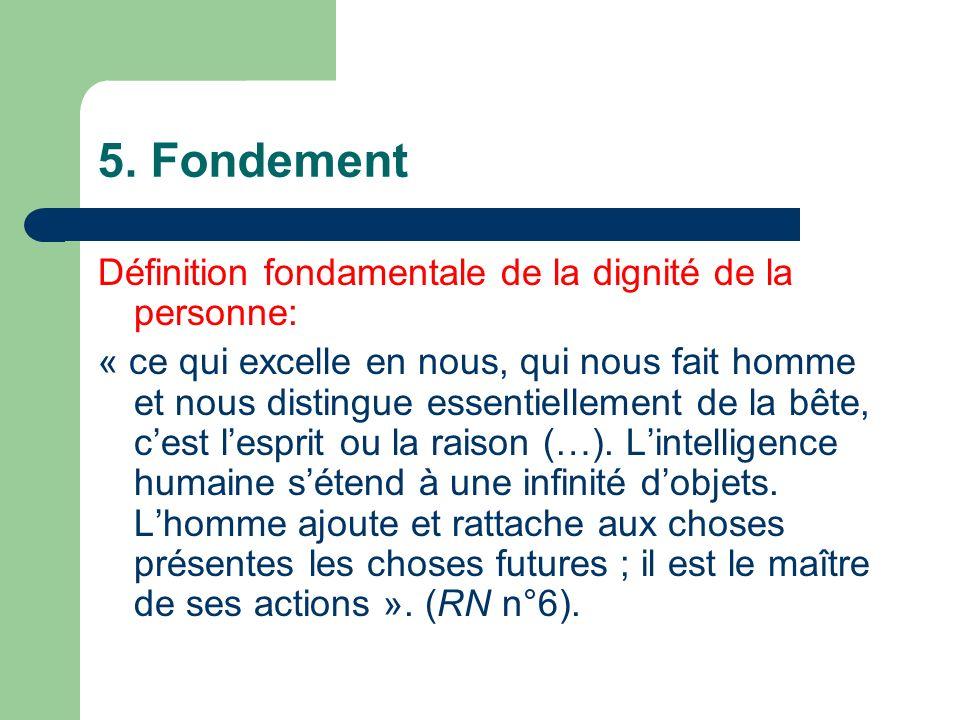 5. Fondement Définition fondamentale de la dignité de la personne:
