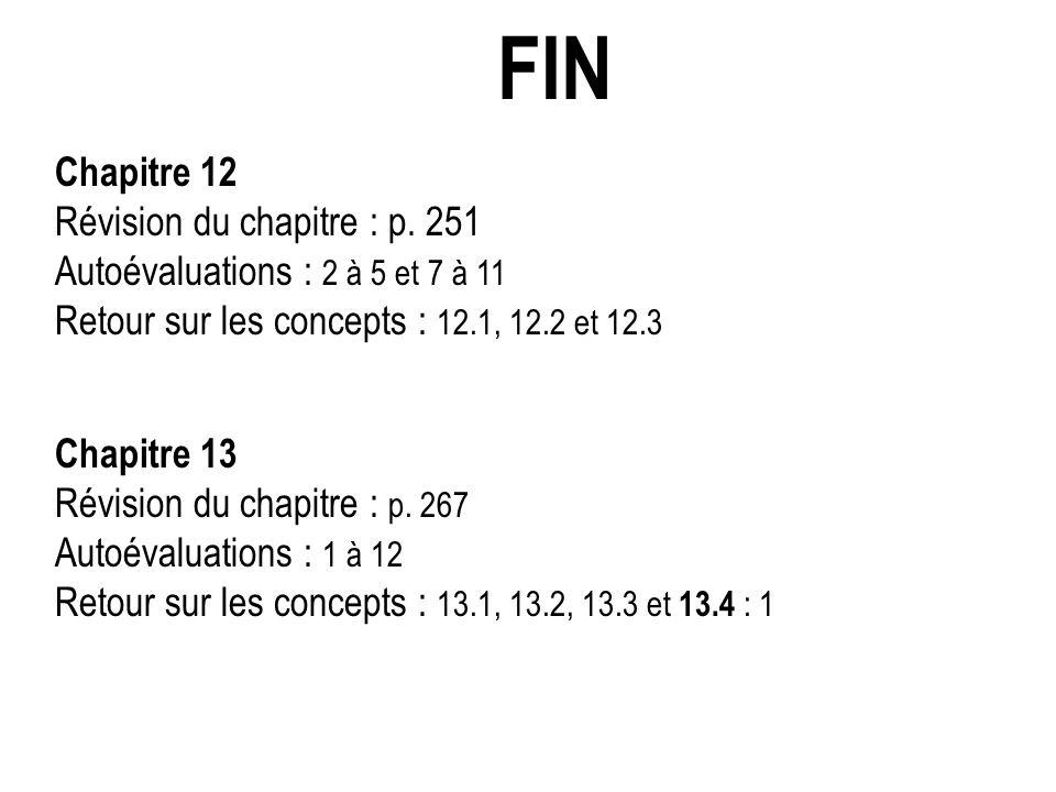 FIN Chapitre 12 Révision du chapitre : p. 251