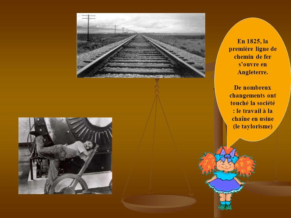 En 1825, la première ligne de chemin de fer s'ouvre en Angleterre.