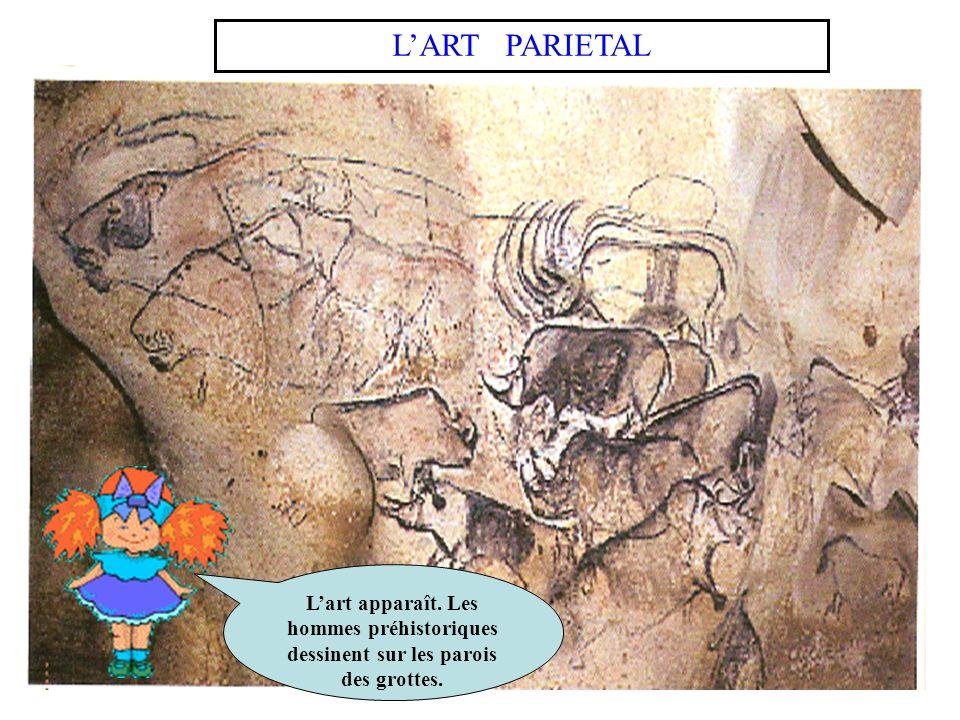 L'ART PARIETAL L'art apparaît. Les hommes préhistoriques dessinent sur les parois des grottes.