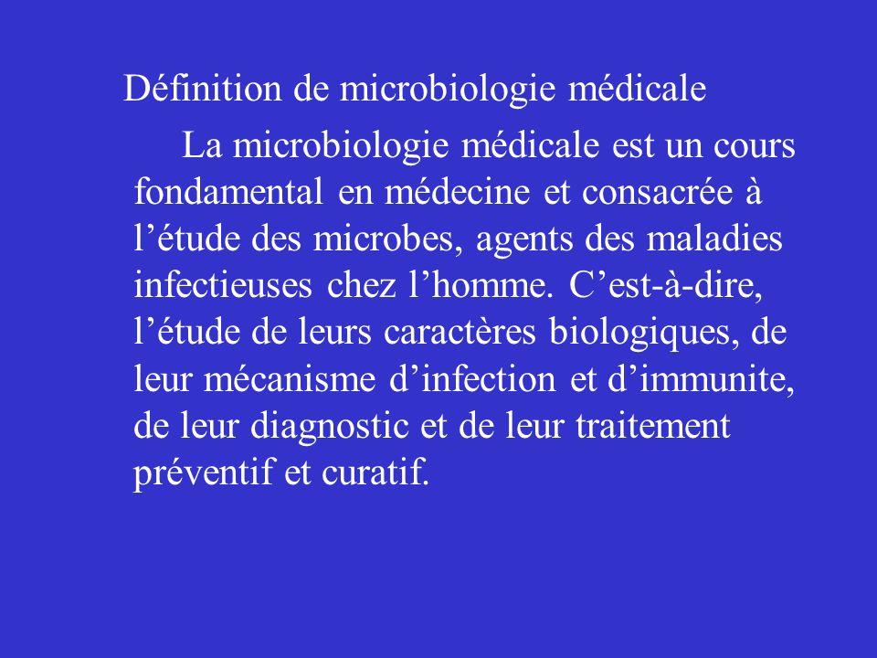 Définition de microbiologie médicale La microbiologie médicale est un cours fondamental en médecine et consacrée à l'étude des microbes, agents des maladies infectieuses chez l'homme.