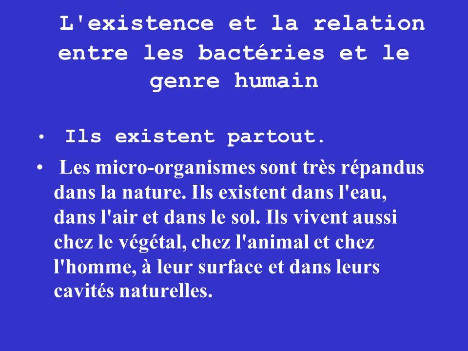 L existence et la relation entre les bactéries et le genre humain