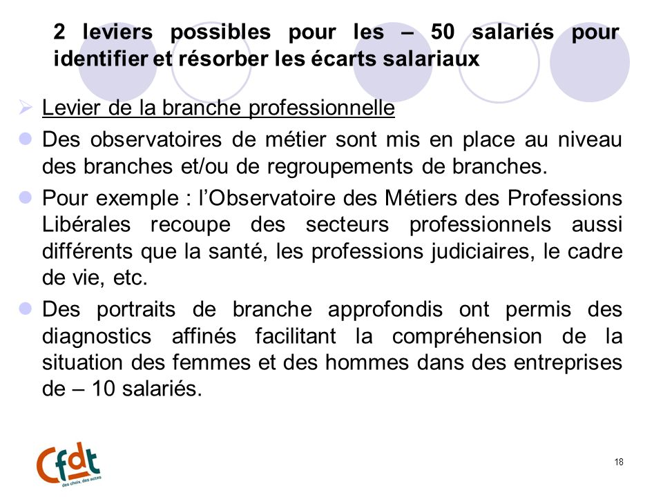 2 leviers possibles pour les – 50 salariés pour identifier et résorber les écarts salariaux