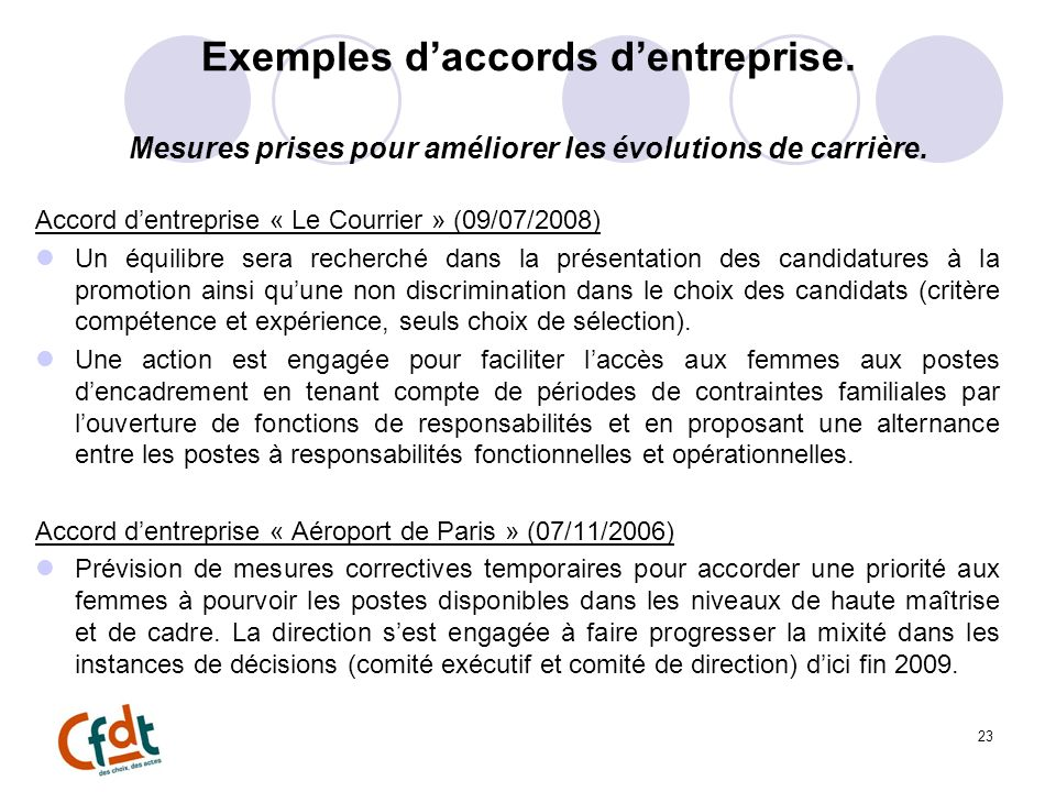 Exemples d'accords d'entreprise