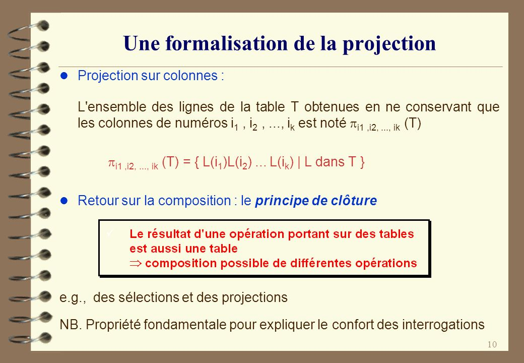 Une formalisation de la projection